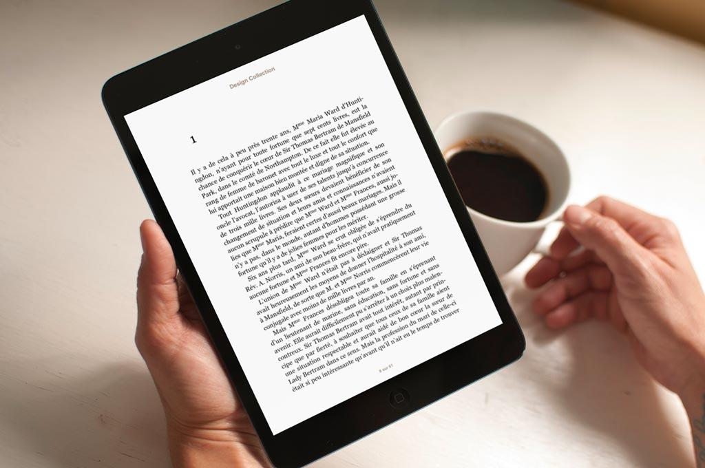 Mise en page du texte, simple et lisible.