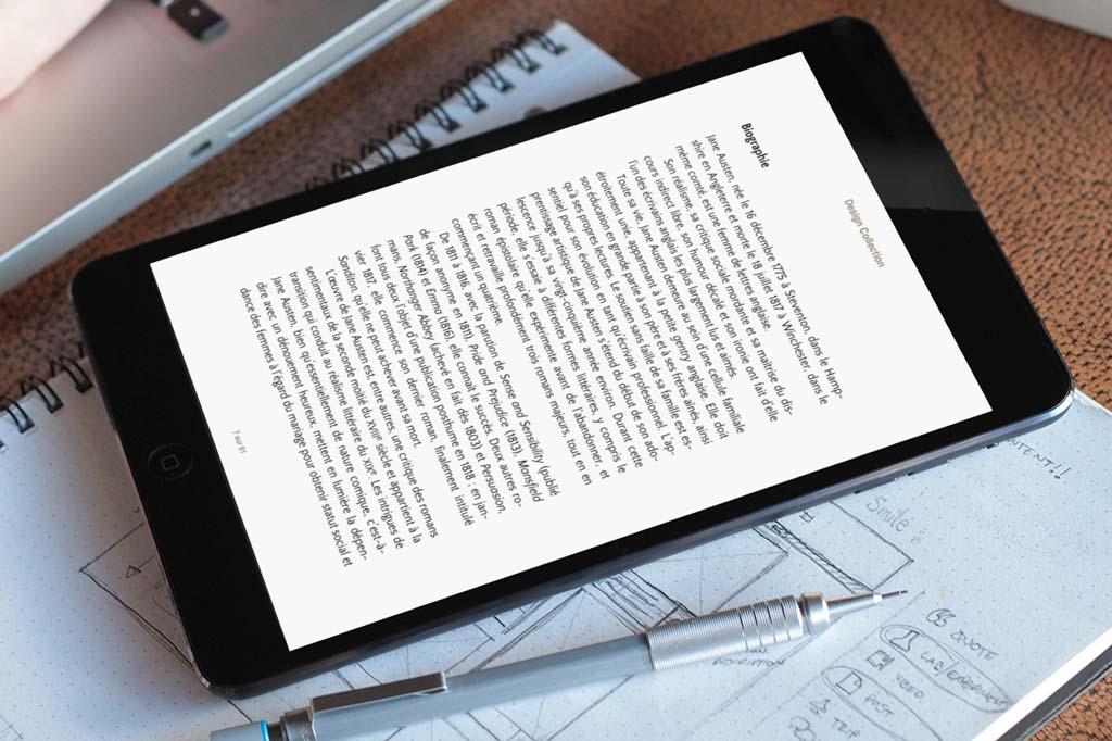 Mise en page de la biographie, différenciée par sa composition typographique comme tout le paratexte.