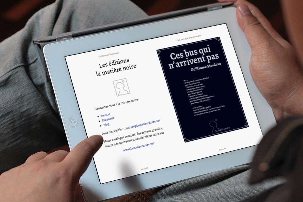 La matière noire étant un éditeur numérique, une page de contact est bien évidemment présente pour inciter les lecteurs à partager.