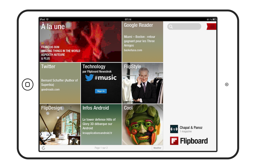 Page d'accueil de Flipboard