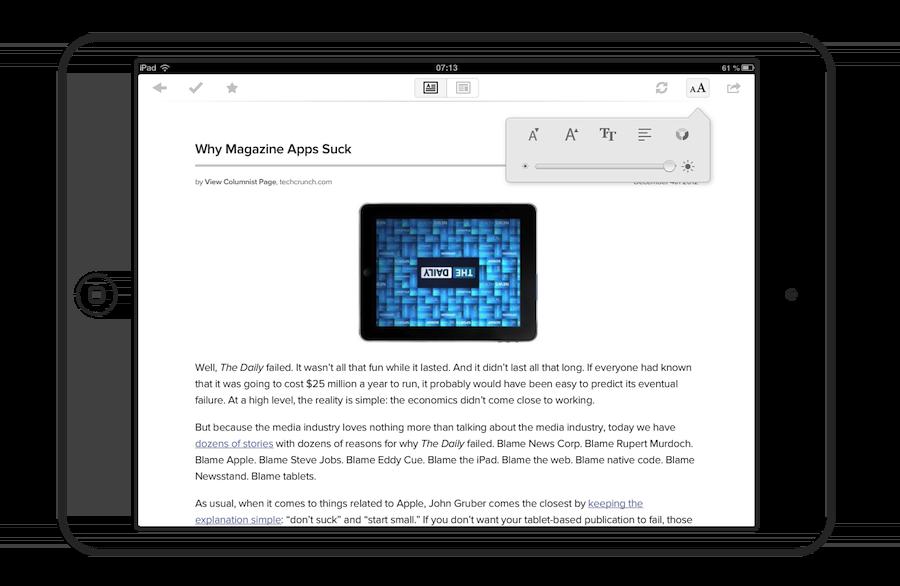 Pocket permet de finement régler la composition typographique pour obtenir un confort de lecture maximal