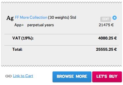 Envie d'utiliser la famille FF More pour une collection de livres numériques ? Il vous en coûtera seulement 25555.25 €.