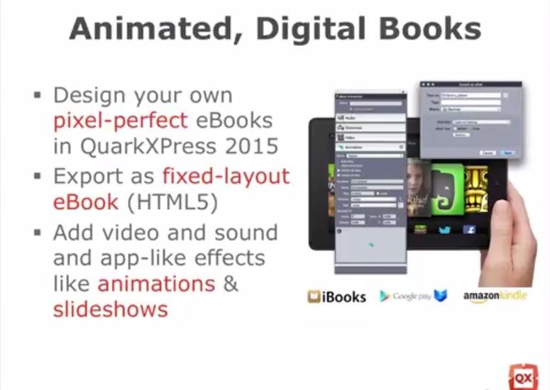 Slide de la présentation vidéo de QuarkXPress 15 annonçant l'export EPUB 3 fixed-layout.