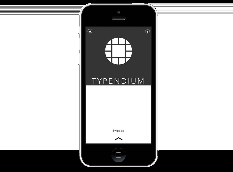 Page d'accueil de l'app Typendium. Slide vers le haut pour accéder aux contenus
