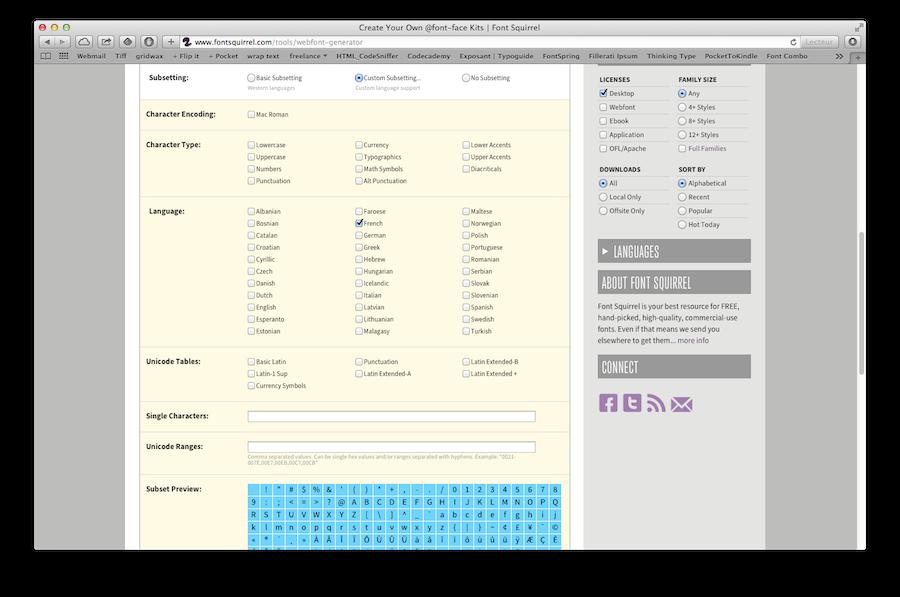 L'outil en ligne de FontSquirrel, Webfont Generator, permet de créer un subset d'une fonte.