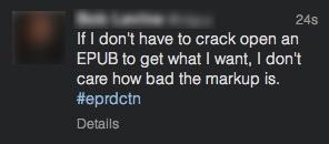 """Message d'un """"designer"""" sur le fil #eprdctn de Twitter"""
