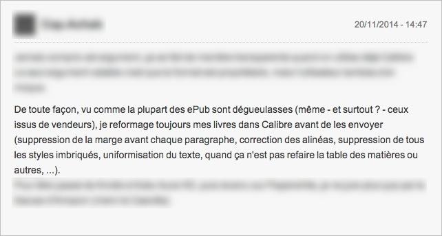 Message d'un lecteur dans les commentaires d'un test de liseuses, critiquant la qualité des fichiers qui lui sont vendus.