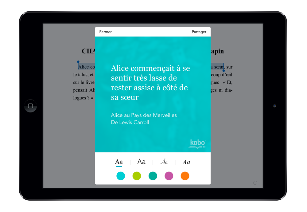 Surlignez dans l'app Kobo pour iOS, partagez en image, choisissez la couleur de fond et la typo, envoyez.