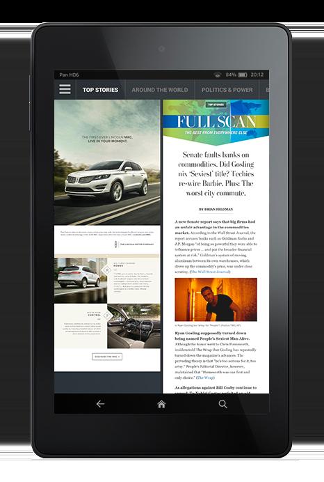 """S'il y a effectivement des publicités dans l'app Washington Post, elles sont peu nombreuses et ne sont pas interactives, ce qui évite le côté """"bells and whistles"""" de certaines apps magazines."""