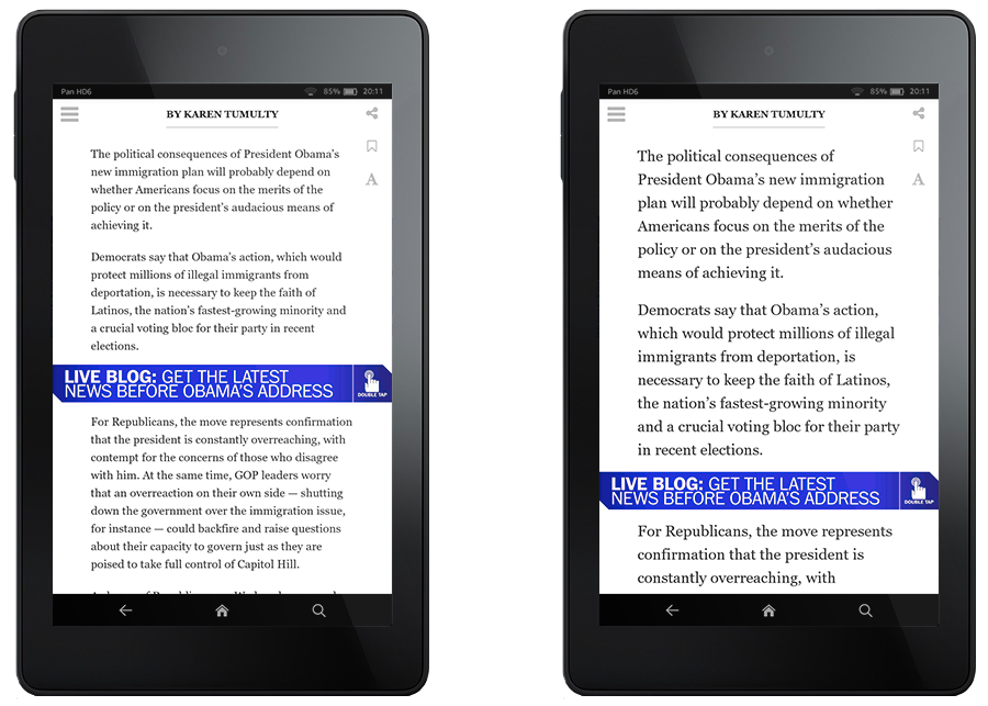 L'app permet de modifier la taille de caractères, ce que beaucoup de lecteurs exigent aujourd'hui.