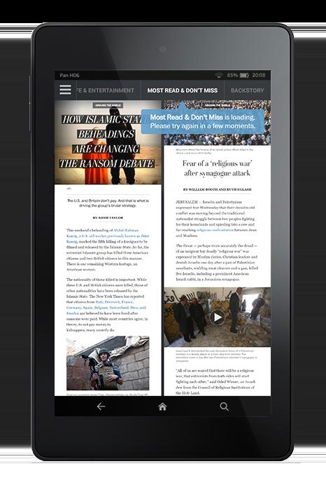 L'app permet de consulter les articles les plus lus mais l'interaction avec les autres lecteurs s'arrête là.