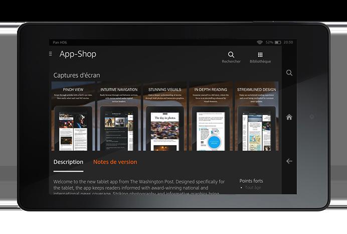 Le Washington Post a utilisé les captures d'écran comme des slides sur la page produit, pour présenter les fonctionnalités de l'app.