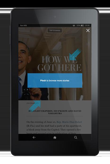L'app Washington Post accueille l'utilisateur avec un tutoriel, pour que celui-ci puisse comprendre les gestuelles qui en régissent la navigation.
