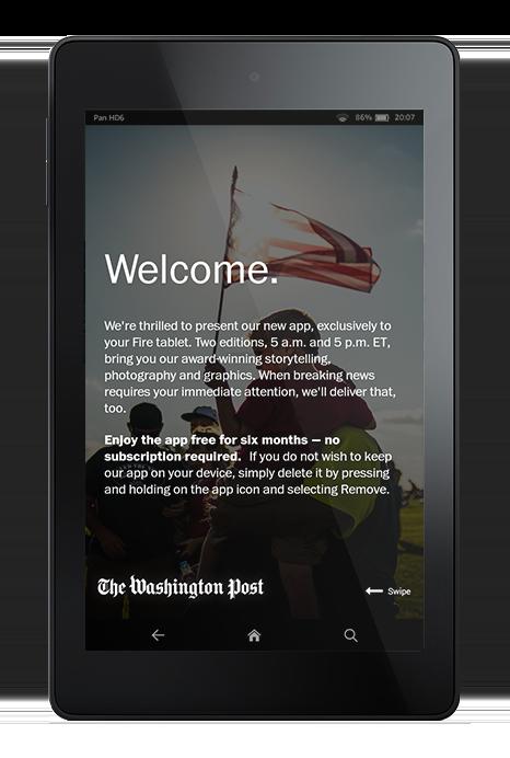 L'app Washington Post ne demande aucune information avant de laisser l'utilisateur consulter le contenu.