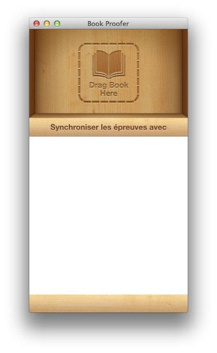 Interface du Book Proofer Apple.
