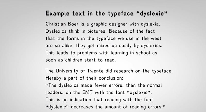 Texte composé en police Dyslexie