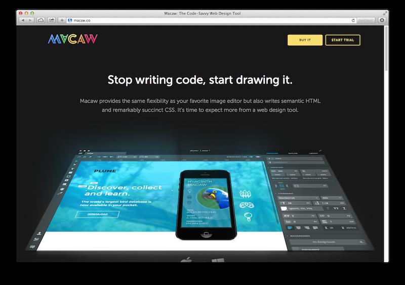 Page d'accueil du site de Macaw.