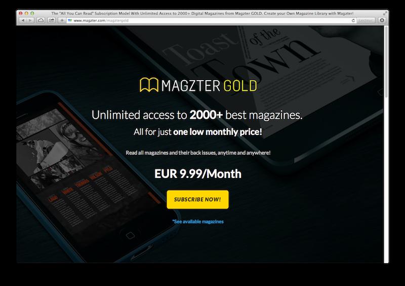 Landing Page promotionnel pour l'abonnement Magzter Gold.