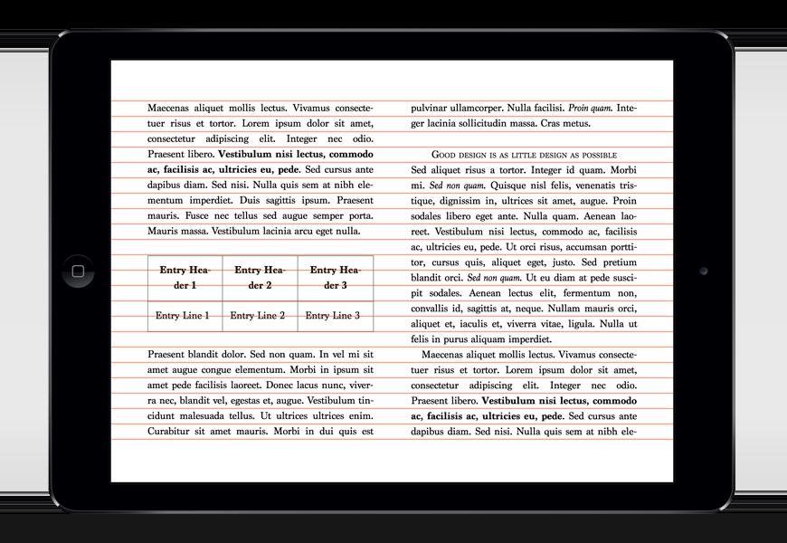 Cette composition typographique eBook gagnerait à être raffinée. L'interlignage est un peu lâche, les césures ne sont pas neutralisées dans le tableau, etc. On remarquera tout de même le contre-rythme (contraste) qui a été amené pour ce tableau.