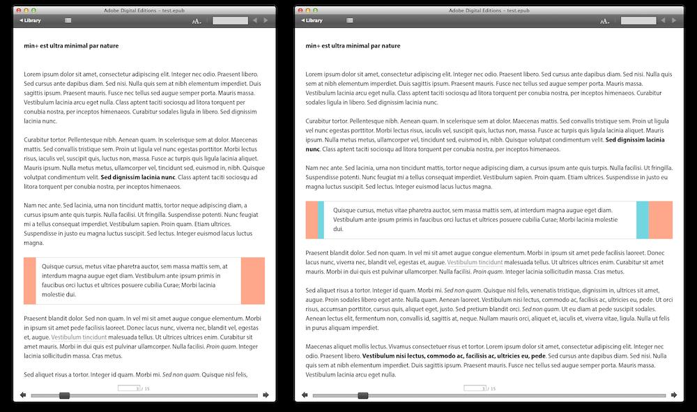 """Comme nous pouvons le constater, les marges s'adaptent à la largeur de la """"page"""" grâce au pourcentage CSS. La différence apparaît en vert."""