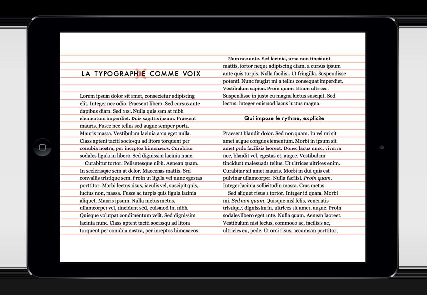 Un rythme vertical bien soigné permet d'aligner deux pages sur une même ligne de base.