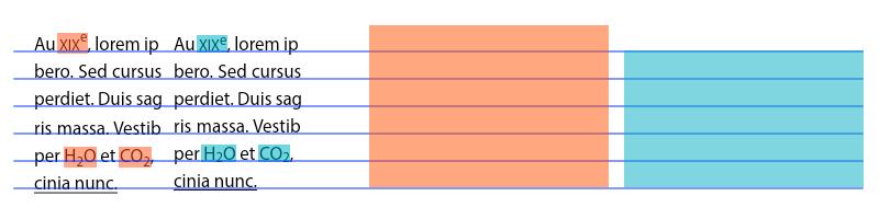 Le pourcentage CSS (en vert) peut être utilisé pour soigner les indices et exposants. En rouge, ce que nous obtiendrions avec les mots clés.