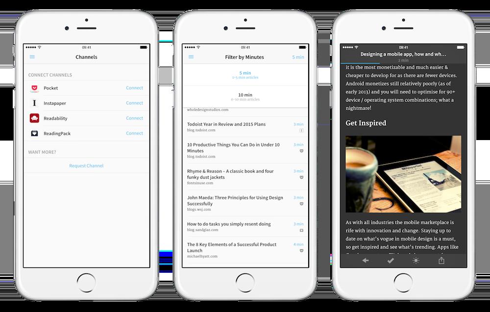 Shorts permet de se connecter à un service de lecture différée pour piocher une liste d'articles dont la lecture ne dépasse pas les 5 ou 10 minutes.