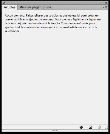 Le panneau d'articles d'InDesign, pour ordonner les contenus lors de l'export PDF ou EPUB.