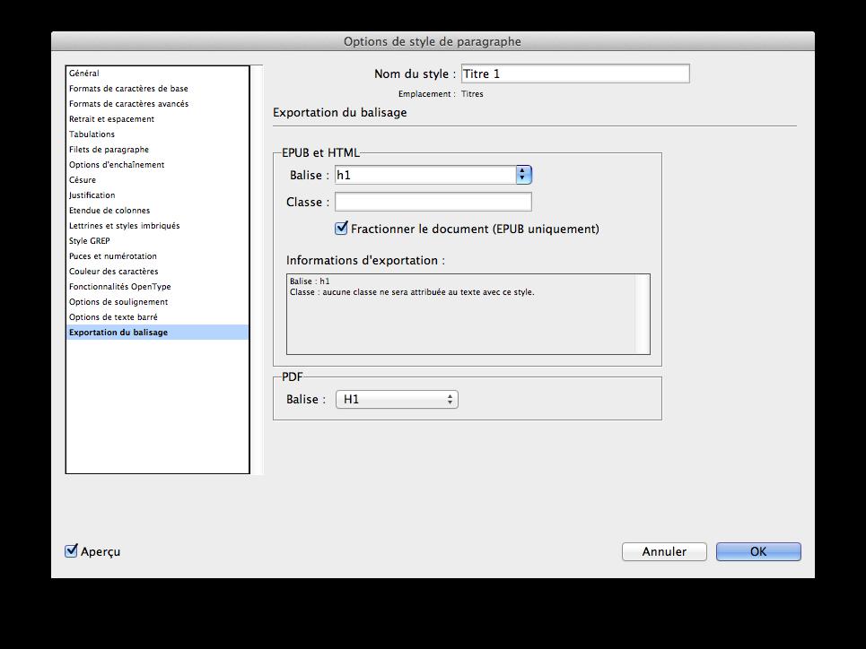 L'onglet d'exportation, presque perdu dans l'interface d'InDesign