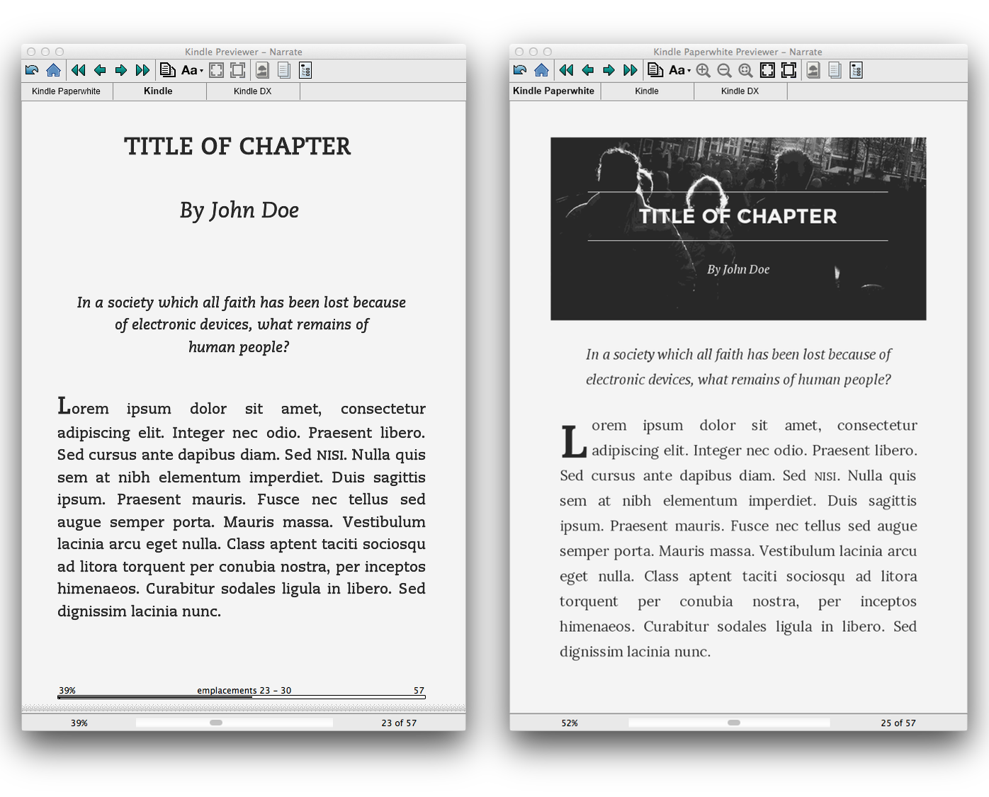 OK, je triche un peu, nous avons un fichier Kindle Mobi ici. Mais pour comprendre les concepts de media queries et d'amélioration progressive, il n'y a pas mieux.