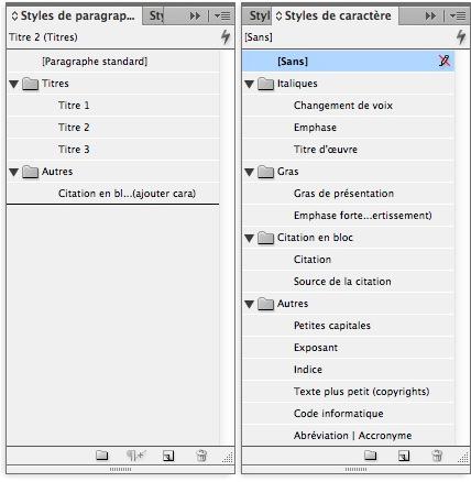 Styles de paragraphe et de caractères à créer dans InDesign