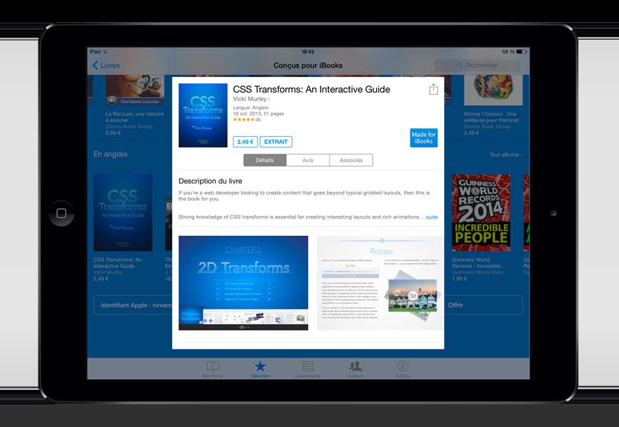"""Dans la catégorie """"Conçus pour iBooks"""", des fichiers EPUB sont venus rejoindre les fichiers iBooks Author depuis quelques mois."""