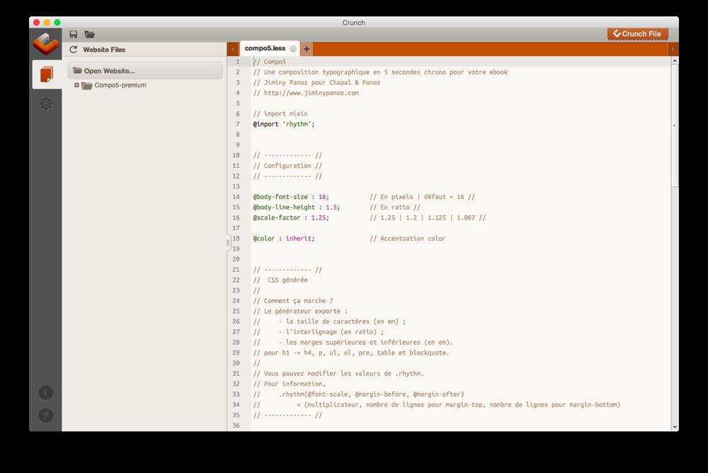 """Compo 5, un système de composition eBook adapté à toutes les tailles d'écran et réalisé à l'aide d'un """"préprocesseur LESS""""."""