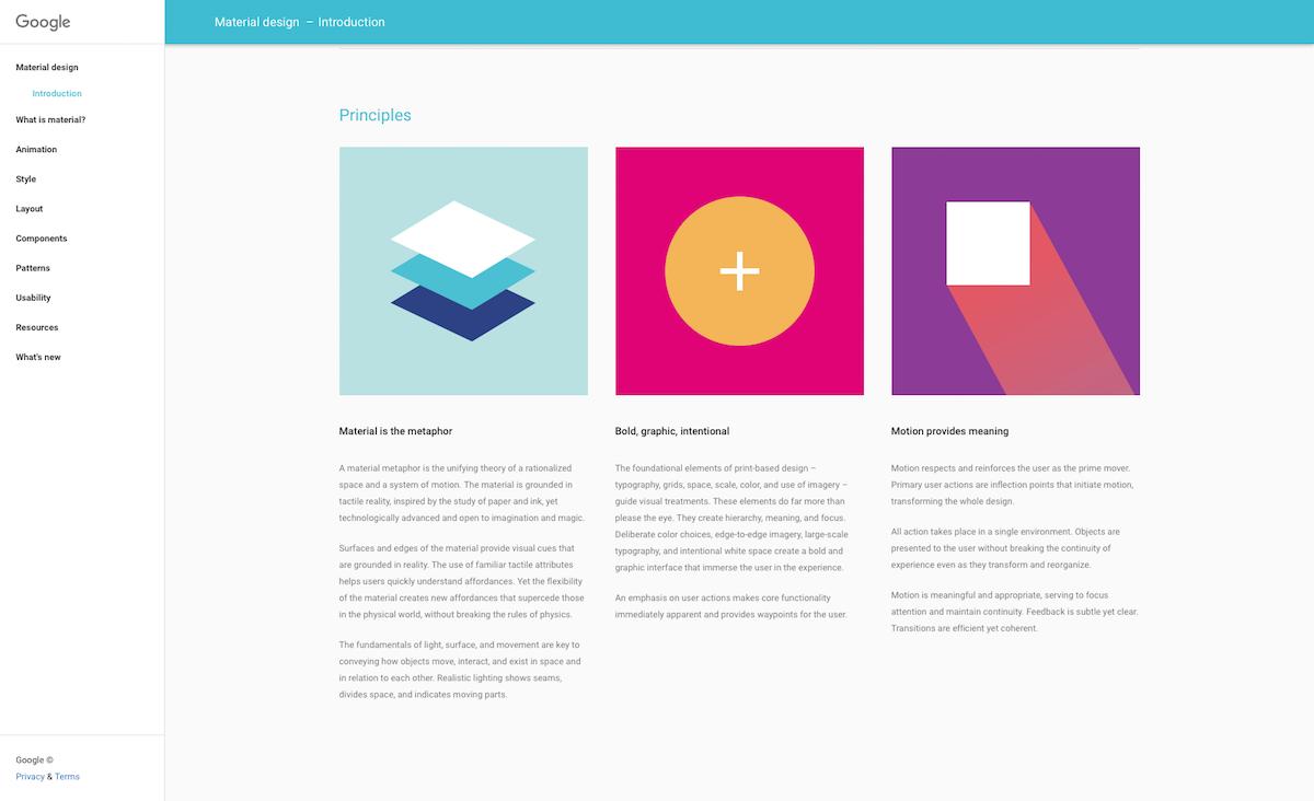 Material Design, l'un des nombreux langages de conception que nous sommes amenés à utiliser.