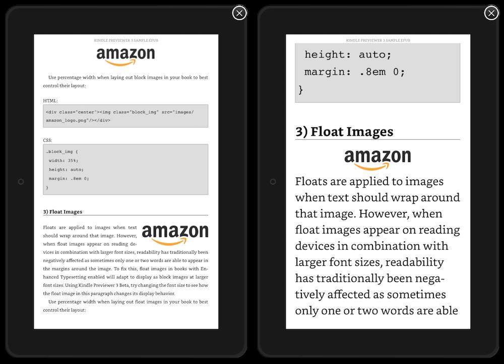 """La gestion des images flottantes en image. Comme nous pouvons le voir, l'image passe en """"display: block"""" quand on augmente la taille de caractères au-delà d'un certain point."""
