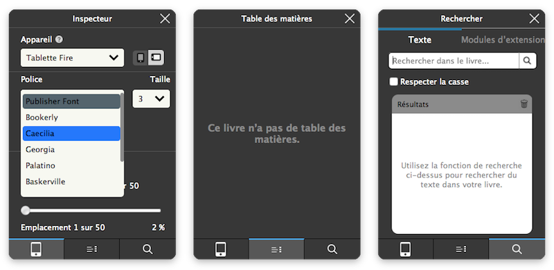 Inspecteur de Kindle Previewer 3