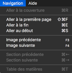 Menu navigation de Kindle Previewer
